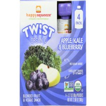 Happy Squeeze Fruit And Veggie Snack - Organic - Blended - Twist - Apple Kale And Blueberry - 4/3.17 Oz - Case Of 4