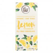 Theo Chocolate Organic Lemon - 45 Percent Milk Chocolate - Case Of 12 - 3 Oz.