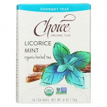 Choice Organic Gourmet Herbal Tea - Licorice Mint - Case Of 6 - 16 Count