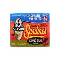 Season Brand Sardines - Skinless And Boneless - In Tomato Sauce - Salt Added - 4.375 Oz - Case Of 12
