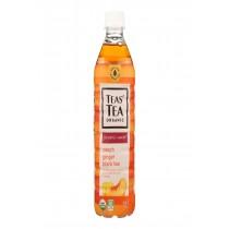 Tea's Organic Black Tea - Lightly Sweet Peach Ginger - Case Of 12 - 16.9 Fl Oz.