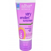 Alba Botanica Natural Very Emollient Sunscreen For Kids - Spf 45 - 4 Oz