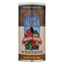 Cafe Altura 100% Organic Fair Trade Dark Blend Coffee - Case Of 6 - 12 Oz