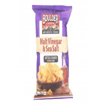 Boulder Canyon Natural Foods Kettle Chips - Malt Vinegar And Sea Salt - Case Of 12 - 5 Oz.