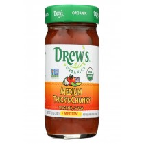 Drew's Organics Organic Thick & Chunky Salsa - Medium - Case Of 6 - 12 Oz