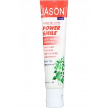 Jason Natural Products Toothpaste - Powersmile - Antiplaque And Whitening - Powerful Peppermint - Fluoride-free - 3 Oz - Case Of