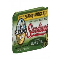 Season Brand Brisling Sardines In Olive Oil - Salt Added - Case Of 12 - 3.75 Oz.