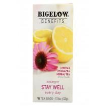 Bigelow Tea Tea - Lemon Echinacea - Stay Well - Case Of 6 - 18 Bag