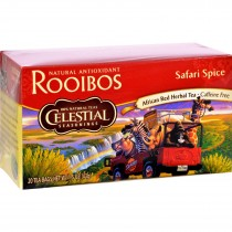 Celestial Seasonings African Rooibos Tea - Safari Spice - Caffeine Free - Case Of 6 - 20 Tea Bags