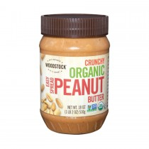 Woodstock Organic Easy Spread Peanut Butter - Crunchy - Case Of 12 - 18 Oz.