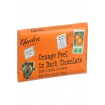 Chocolove Xoxox Premium Chocolate Bar - Dark Chocolate - Orange Peel - 3.2 Oz Bars - Case Of 12