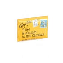 Chocolove Xoxox Premium Chocolate Bar - Milk Chocolate - Toffee And Almonds - Mini - 1.3 Oz Bars - Case Of 12