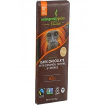 Endangered Species Natural Chocolate Bars - Dark Chocolate - 60 Percent Cocoa - Cinnamon Cayenne And Cherries - 3 Oz Bars - Case