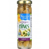 Mediterranean Organic Olives - Organic - Green - Stuffed - Garlic - 8.5 Oz - Case Of 12