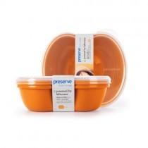 Preserve Small Square Food Storage Container - Orange- 2 Pack