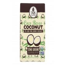 Taza Chocolate Stone Ground Organic Dark Chocolate Bar - Coco Besos Coconut - Case Of 10 - 2.5 Oz.