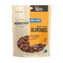 Woodstock Almonds - Whole - Roasted - Salted - Case Of 8 - 7.5 Oz.