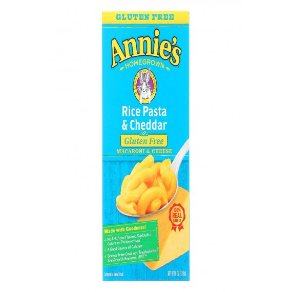 Annie's Homegrown Gluten Free Rice Pasta And Cheddar Mac And Cheese - Case Of 12 - 6 Oz.