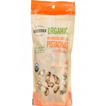 Woodstock Nuts - Organic - Pistachios - Dry Roasted - Unsalted - 7 Oz - Case Of 8