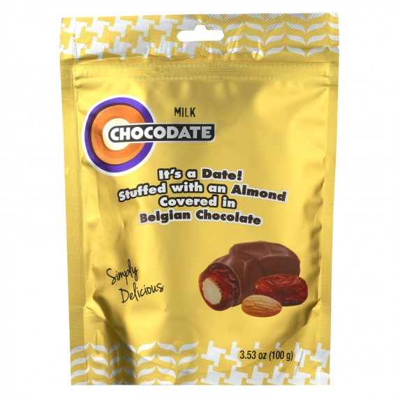Chocodate - Date And Almond Candy - Milk Chocolate - Case Of 12 - 3.53 Oz.