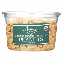 Aurora Natural Products - Organic Roasted Unsalted Peanuts - Case Of 12 - 10 Oz.