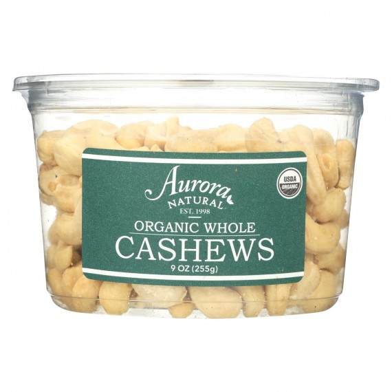 Aurora Natural Products - Organic Whole Cashews - Case Of 12 - 9 Oz.