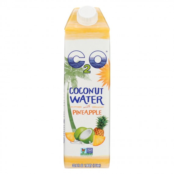C2o - Pure Coconut Water - Pineapple - Case Of 12 - 33.8 Fl Oz.
