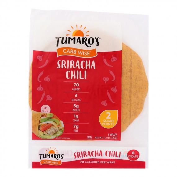 "Tumaro's - 8"" Carb Wise Wraps - Sriracha Chili - Case Of 6 - 8 Count"