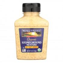 Westbrae No Salt Added Stoneground Mustard - Case Of 12 - 8 Oz