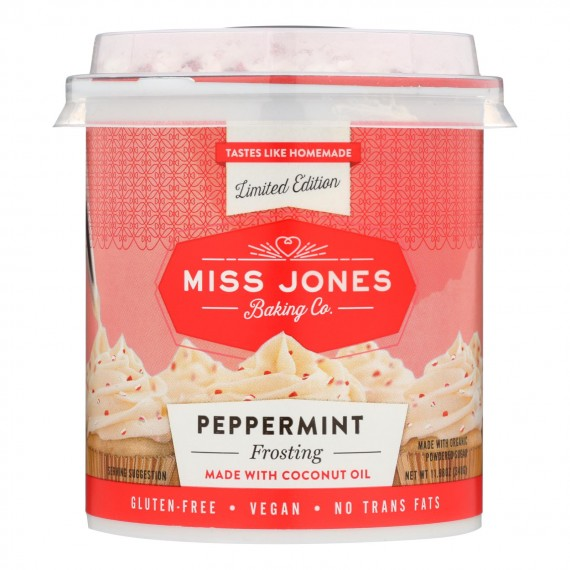 Miss Jones Baking Co - Frosting Peppermint - Case Of 6 - 11.98 Oz