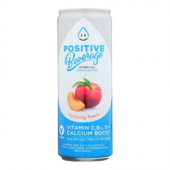 Positive H20 - Sparkling Bev Perfectly Peach - Case Of 12 - 12 Fz