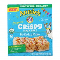 Annie's Homegrown - Crispy Snack Bars Birthday Cake 5count - Case Of 8 - 3.9 Oz